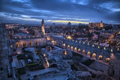 La ville de Jérusalem la nuit