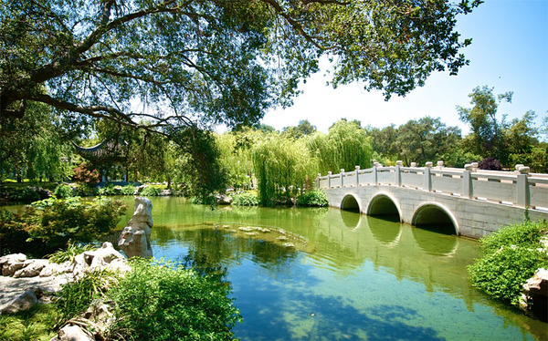 botanical-gardens-los-angeles-most-beautiful-landscape-large-water-pond-river-stamped-concrete-bridge-green-trees-shrubs-plants-collections