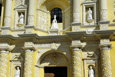 La façade de l'église d'Antigua